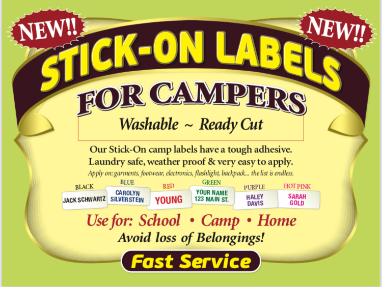 Stick on Labels For Campers etc.
